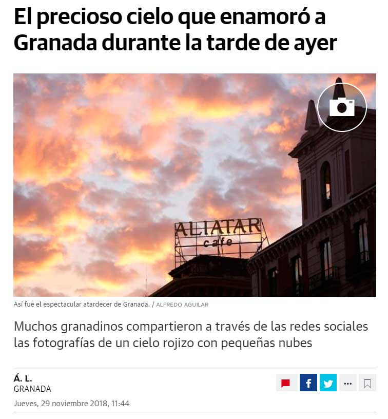 Granada Sunset, Famous and viral event